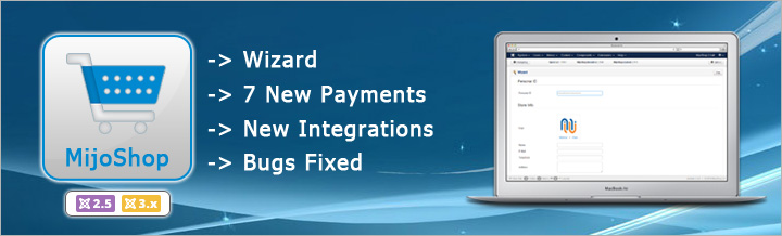 MijoShop 2.5 released, new Wizard and Payments