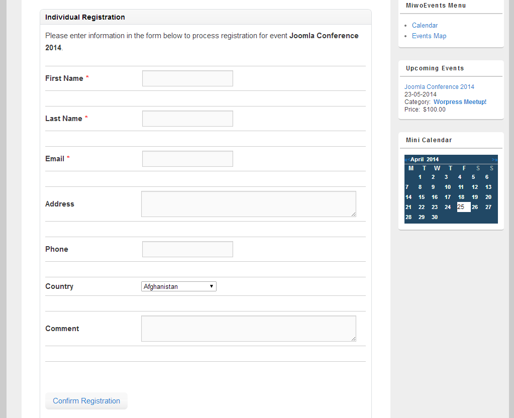Front-end: Individual Registration